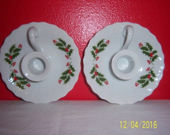 Ceramic Hand Painted Candle Holders - Pair of Candleholders - White Candlesticks With Holly And Berries - Made In Japan - New With Tag - NOS