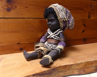 Vintage 1960's  Genuine Black Rubber Papua New Guinea Tribal Doll