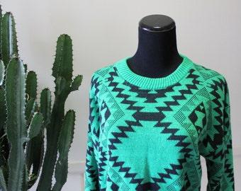Vintage Christina's Geometric Pattern Acrylic Sweater 1980s