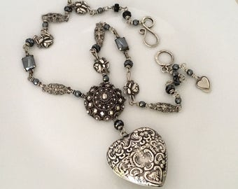 Sterling Silver Heart Pendant Necklace Gift for Her - Antique Assemblage Necklace - Heart Locket Necklace -Unique Girlfriend Gift Necklace