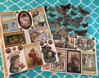 Cat & Butterfly Embellishment Sticker Sheet Lot of 3/ Heartwarming Vintage Stickers/NEW/card making, journal, scrapbooking, planners