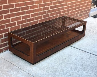 Mid Century Smoke Glass Coffee Table by Lane