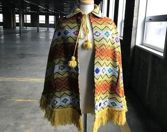 70s Multicolored Cape Made in Guatemala