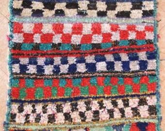 "230X140 CM (7' 6"" X 4' 7"" )  T30150 boucherouite , boucharouette,  moroccan rugs , berber rugs, morocco carpets"