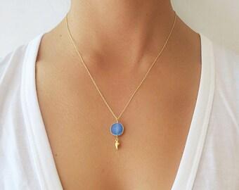 Blue Druzy Gold Dangle Necklace - Druzy Necklace - Druzy Jewelry