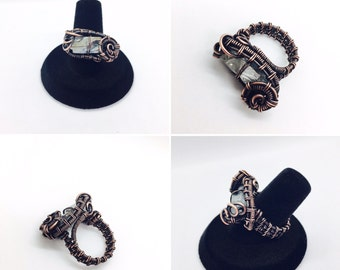 Copper Wire Wrapped Iridescent Crystal Ring - Size 6.25