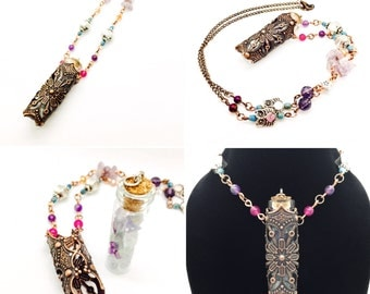 Bohemian Antiqued Glass Bottle Necklace filled with fluorite chips