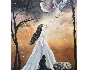Familiars - Original Acrylic Painting of a White Witch and Her Spirit Animals in the Light of the Full Moon - Victorian Gothic Fantasy