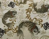 Koi fish, ivory, 1/2 yard, pure cotton fabric