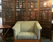 Vintage Carved Teak 4 Panel Room Divider