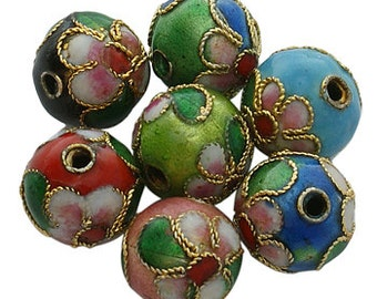 Handmade Cloisonne Beads, Round, Mixed Color, Round, 6mm -200pc