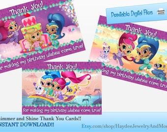 Shimmer and Shine Thank you Cards/ Birthday Thank you cards/ INSTANT DOWNLOAD!!