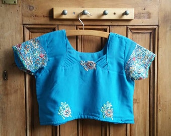 Ladies vintage top bell sleeves ethnic boho ladies hippie festival  clothing size small blue bohemian tops Dolly Topsy Etsy UK