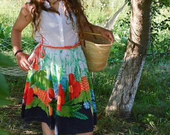 SALE Floral  Ruffled Skirt Vintage 80s midi skirt