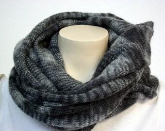 Multi Grey Onyx Mohair Cowl - Fluffy, Soft & Warm