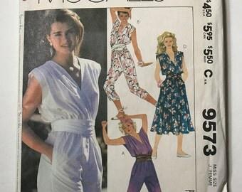 80s Vintage McCalls 9573 Romper Jumper and Dress Vintage 80s Pattern Uncut Size 12