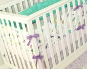 Mermaid Crib Bedding, Ocean Baby Girl Bedding Set, Mermaid Nursery Bedding Set, Mint, Purple, Lavender Baby Girl Bedding