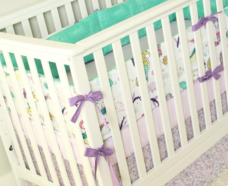 Crib bumper for sale philippines - Mermaid Crib Bedding Ocean Baby Girl Bedding Set Mermaid Nursery Bedding Set Mint Purple Lavender Baby Girl Bedding
