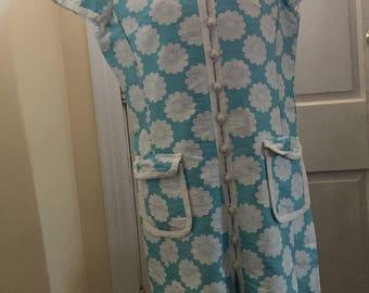 1960s Cotton Jacquard Dress Made in Hong Kong for Alexander's sz 20