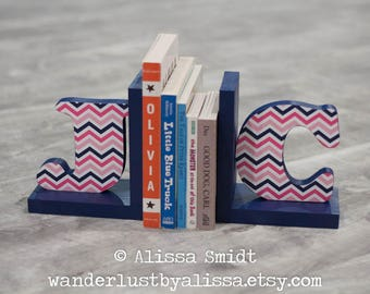 Letter Bookends, Initial Bookends, Pink and Navy Chevron Wooden Custom Bookends - Custom Created  (alphabet bookends, name bookends)