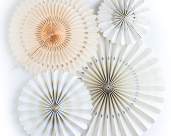 Ivory Party Fans | Party Pinwheel Fans | Paper Rosettes | Paper Pinwheels