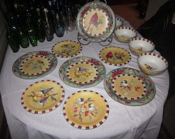 nice Lot of Lenox Winter Greeting Everyday tableware American Birds plaid border Holly berry Red ribbon/American bird/tidbit/Serveware/China