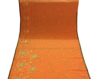 10% OFF on Used/recycled Sari in peach  Dress  Making fabric sarong drape Embroidered Sari