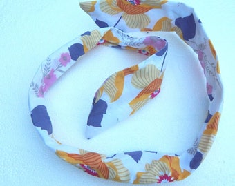 purple and yellow floral wired hair accessory headband