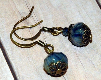 Small Drop Earrings, Blue Marbled Bead of High Quality Czech Glass Accented with Brass Filigree, Everyday Casual Style, Beautiful Simplicity