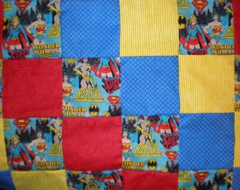 SALE Wonder Woman, Batgirl, Super Girl Patchwork  Quilt