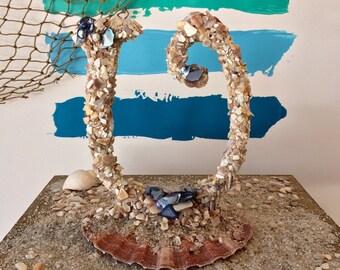 MONOGRAM CAKE TOPPER Beach Wedding Seashell Cake Topper