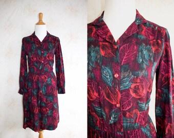 Vintage 60s Shirtdress, 1960s Day Dress, Leaf Print, Floral, Novelty Print