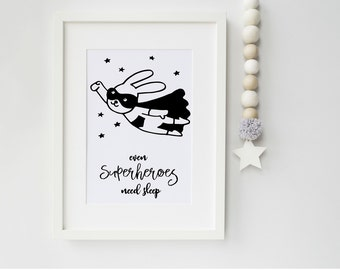 Superhero Art Print, art print, nursery print, children's bedroom, scandinavian art, scandi, ideal gift new parents