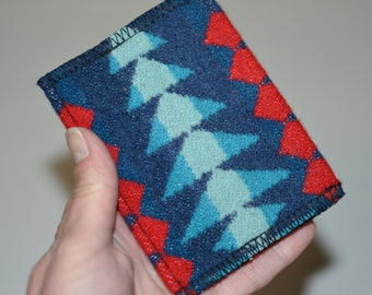 wallet - casual mens or womens - handmade of Wool fabric - front or back pocket - card case slim trendy hip wallet id card case - tribal