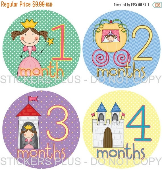 SALE Baby Girl Monthly Stickers Plus FREE Gift Month Milestone Age Stickers Stick Princess Castle Buggy Green Purple Lilac Blue Yellow 1-12