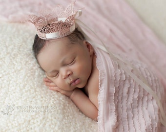 Newborn Crown, Sweetest Little Handpainted Pink Scalloped Lace Crown Tied with Cream Satin Ribbon, Newborn Photography Prop, Baby Crown