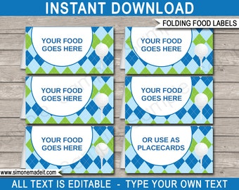 Golf Food Labels - Golf Theme Party - Food Buffet Tags - Placecards - Printable Party Decorations - INSTANT DOWNLOAD with EDITABLE text