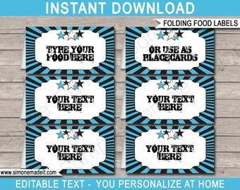 Rockstar Party Food Labels - Rockstar Theme Party - Blue - Food Buffet Tag - Printable Party Decorations - INSTANT DOWNLOAD - EDITABLE text