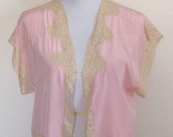 Pink silk bed jacket