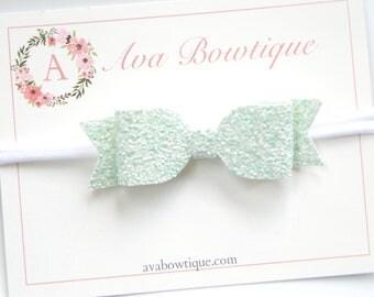 Mint Bow Headband - Mint Glitter Bow Headband - Baby Bow Headband - Nylon Headband - Girls Mint Bow Headband