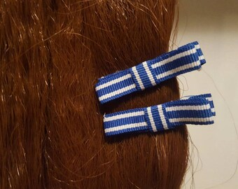 Striped Blues Hair Bows