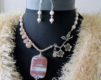 striped pinkypeach agate and apple blossom bough necklace and earring set peach moonstone