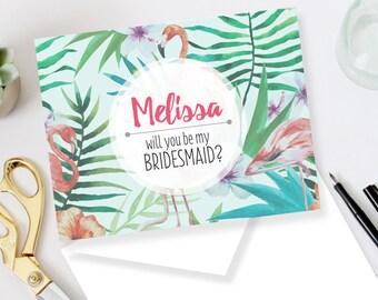 Personalized Bridesmaid DIY Set (printable) - Will you be my bridesmaid card - Tropical - Summer - Flamingos