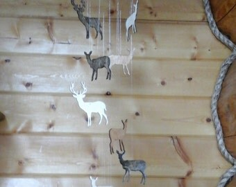 Wooden Buck and Doe Deer Mobile Rustic