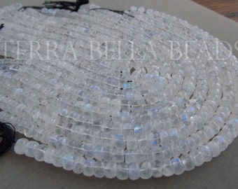 "7"" half strand AAA RAINBOW MOONSTONE smooth gem stone rondelle beads 4.5mm - 5mm"