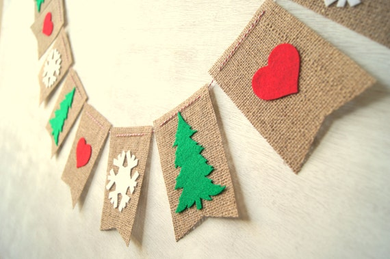 Christmas tree snowflake hearts burlap banner bunting by a