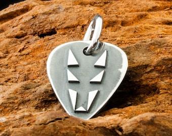 "Handmade Solid 925 Sterling Silver Black Jackal Plectrum Pendant / Reversible to Dogstone "" D """