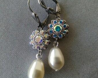 Swarovski Creamrose Pearl and Crystal Earrings with Steel Leverback Earwires