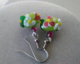 Floral Lampwork Glass and Swarovski Crystal Earrings