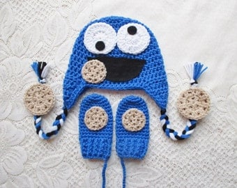 Cookie Monster Inspired Crochet Winter Hat and Mitten Set - Photo Prop - Available in Baby to Toddler Size - Any Color Combination